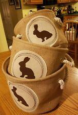 NEW 3 Pc Nesting Storage Bin Set Burlap Organizer Baskets - Bunny Motif - Easter