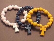 Christian 3 Bracelet Set Pocket Rosary Wood Bead One Decade BLUE YELLOW WHITE