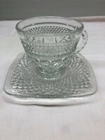 Vintage Depression Anchor Hocking Cup And  Square Saucer