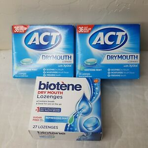2 Act Dry Mouth Mint Loz 36ct and 1 Biotene 27ct Sugarfree with Xylitol  3 pkgs
