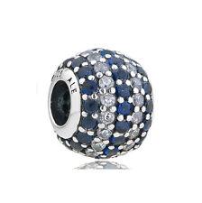 Blue & Clear CZ Charm Bead, 925 Sterling Silver, fits European Style Bracelets