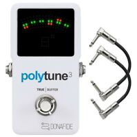 TC Electronic PolyTune 3 Polyphonic LED Guitar Tuner Pedal w/Buffer + Cables
