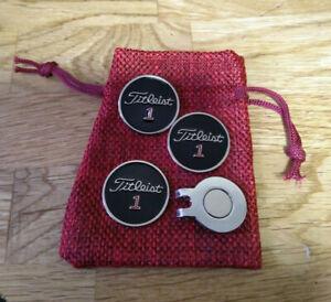 Three Black Titleist Golf ball Markers: Bonus magnetic clip & free pouch