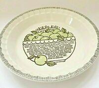Vintage Royal China Ceramic Pie Dish Plate Apple Pie Recipe Country Harvest 1983
