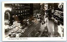 *Times Square Night Street View Nyc New York City Vintage Photo Postcard C44
