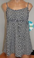 New Swim Solutions Swimsuit 1 one piece Size 12 Attached Dress Black White