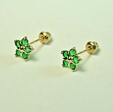 14k solid y/gold lab created 6.5mm Emerald Star stud screw back earrings .60 tcw