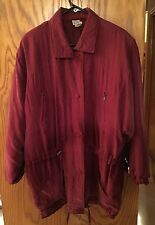 ANDREA MARE' VINTAGE 80'S WOMENS SIZE L BURGUNDY LINED SILK JACKET