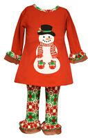 Bonnie Jean  Baby Girls Christmas Santa Snowman Red Legging Set 12 18 24 Months