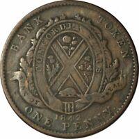 1842 Montreal Bank Canada One Penny Token -Very Nice High Grade Circ!-d1048csx2
