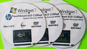 HP TouchSmart 610-1180qd Factory Recovery Media 3-Discs / Windows 7 Home 64-bit