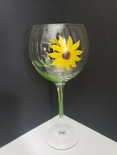 Hand Painted Red Wine Glass - 2 Small Sunflowers with Leaves - Delicately Done