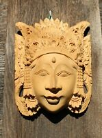Hand Carved Indonesian Bali Wall Mark Head Raw Wood Unpainted Festival Face 7""