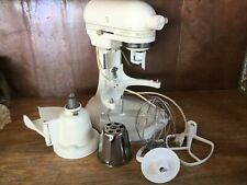 Vintage Kitchen Aid K5Ss Heavy Duty 5qt Off Cream Stand Mixer Works Attachments