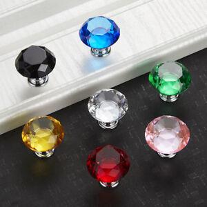 7 Color Glass Diamond Crystal Dresser Knobs Drawer Pull Handle Cabinet Door