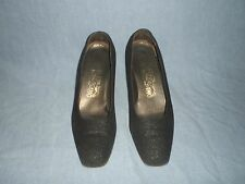 Salvatore Ferragamo Black Leather Suede Textured Vtg Mod Pumps Heels 8 B