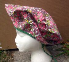FLORAL HAT women's pink El-Aurian flowers cap 1980s tie-back bizarre hat