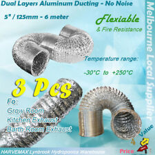 "3 x 5""/125mm Dual Aluminum Ducting Flexible 6M High Quality Hydroponics Fan Duct"
