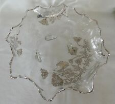 CRYSTAL footed Console Fruit Bowl  Floral  SILVER OVERLAY