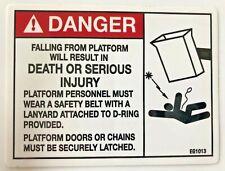 "DANGER Falling from Platform Decal Sticker Warning Bucket Truck Crane 3"" x4"""