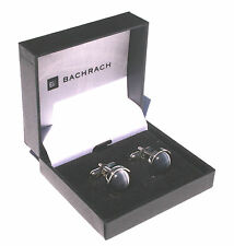 BACHRACH Cufflinks Cuff Links - Silver with Round Gray Catseye Stone - BRAND NEW