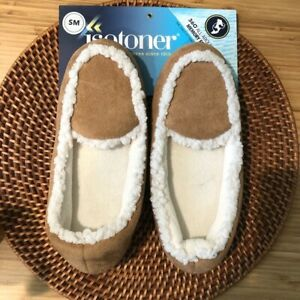 Isotoner Buckskin Tan Sherpa Slippers Small 5 - 6 NWT New With Tags Gift
