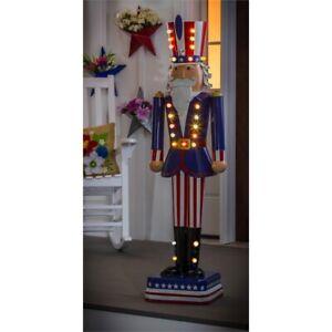 "Uncle Sam Nutcracker Statue Patriotic 50"" LED Light"