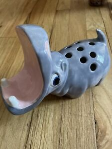 Vintage House Hippo Toothbrush and Soap Or Cellph Holder 1970s Blue Eyes