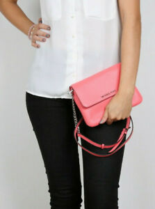 Michael Kors Bedford Coral Pink Leather Double Gusset Crossbody Bag Clutch