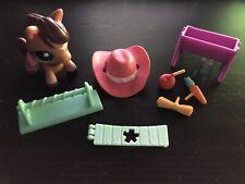 Littles Pet Shop LPS WALKABLES PONY #2257 w/ accessories apple carrot hay WORKS!