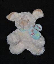 Peluche doudou chien blanc NOUKIE'S Tifoo Kishoo écharpe bleue grelot 11cm TTBE