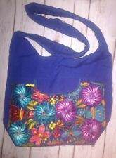 Hippie Mexican cross body bag Blue with multicolor embroidery flower large