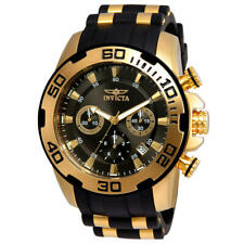 Invicta Men's Pro Diver Chrono Gold Plated S. Steel Black Silicone Watch 22344