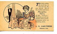 New Fabrics-Caruthers Store-Visalia California-Vintage Advertising Postcard