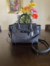 COACH SWAGGER 27 Black Studed Crossbody Handbag