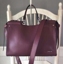 CALVIN KLEIN Callie Burgundy Leather Knot Tote Satchel Shoulder Handbag $228 NEW