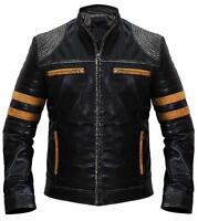 Men's Stylish Black Stripes Biker Jacket Vintage Retro Cafe Racer Leather Jacket