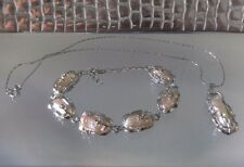 FRESHWATER PEARL NECKLACE & BRACELET SET, SILVER, CRYSTAL, CHAIN,NEW,AUSTRALIA