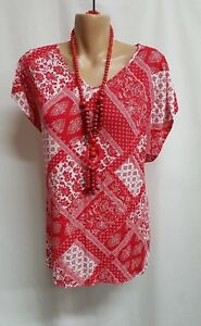 BELLA CURVE RED/WHITE SMART CASUAL TOP  BNWT SIZE 16+