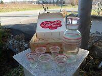 Vintage Dominion Canada Glass Tumblers Decanter Clear Stripe Liquor Set w/ Box