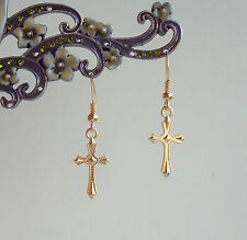 Pretty Golden Cross Short Drop Earrings