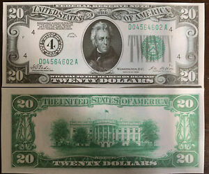 Reproduction $20 Bill COPY USA Federal Reserve Note 1928-Cleveland OH Jackson