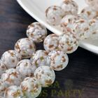 New 5pcs 14mm Lampwork Glass Dots Loose Spacer Round Beads Charms White