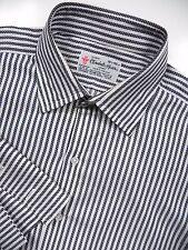 TURNBULL & ASSER MEN 16.5 LARGE 33 FRENCH CUFF DRESS SHIRT WHITE BLACK STRIPE UK