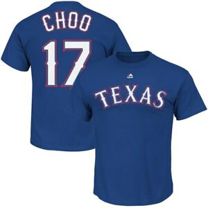 Texas Rangers #17 Shin-soo Choo Men's Cross Stitch Style Jersey Tee Shirt MLB