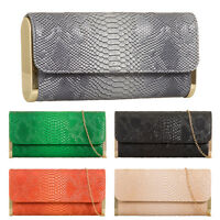 Ladies Designer Faux Gold Trim Snake Print Evening Clutch Bag Handbag KZ967