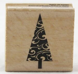 Christmas Tree Swirl Wood Mounted Rubber Stamp Hot Fudge Studios NEW holiday art