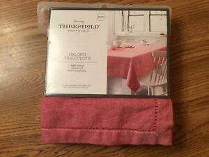 Threshold Oblong 100% Cotton Tablecloth RED 60x84 NEW