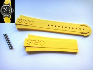 ORIS 733 7675 Aquis Depth Gauge yellow RUBBER band strap bracelet + PVD pins