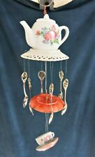 tea party wind chime, teapot, teacup and saucer, hanging mobile, rose flower
